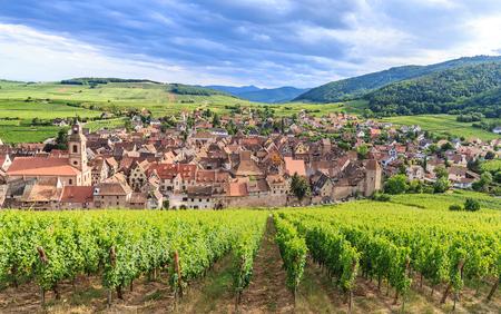 Vista panorámica de la aldea de Riquewihr en Alsacia, Francia Foto de archivo - 53165110