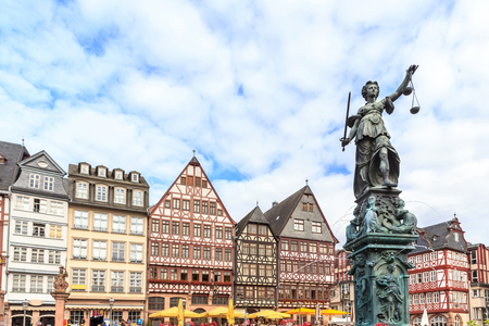 justitia: old town square romerberg with Justitia statue in Frankfurt Germany Stock Photo