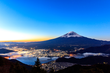 mountain scene: Aerial view of Mt. Fuji and Kawaguchiko, Japan.