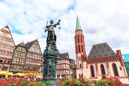 roemerberg: old town square romerberg with Justitia statue in Frankfurt Germany Editorial