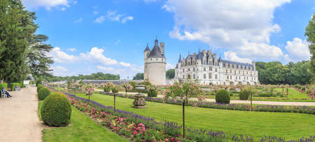 chateau: Panorama Chateau de Chenonceau, Loire Valley, France Editorial