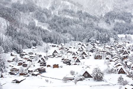 gassho zukuri: Historic Village of Shirakawago in winter, Japan. Stock Photo
