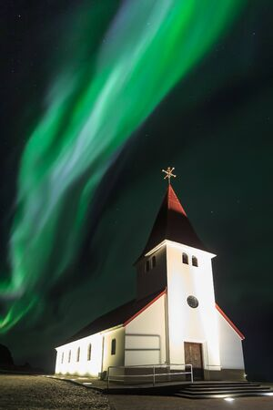 northern light: The Northern Light aurora over at Vik Church, Iceland.