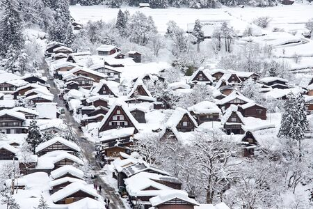 shirakawago: Historic Village of Shirakawago in winter, Japan. Stock Photo