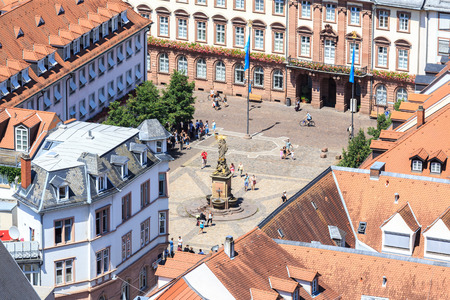 Heidelberg from above - University Square, Kornmarkt