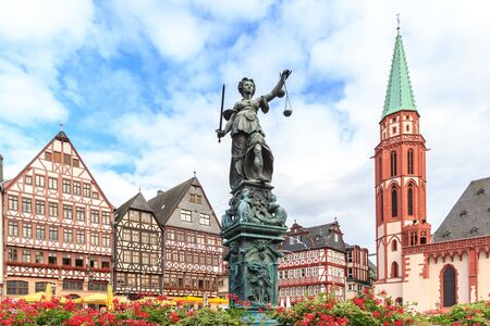 roemerberg: old town square romerberg with Justitia statue in Frankfurt Germany Stock Photo