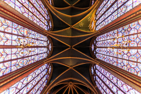 PARIS - MARCH 15: The Sainte Chapelle in Paris, Mar 15, 2015. This 1246 inspired monument features 15 wonderful stain-glass windows in Paris.