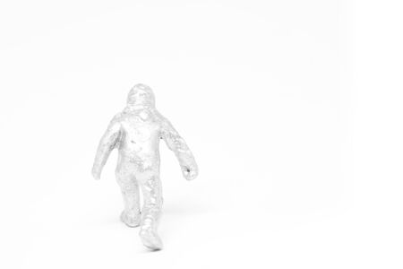 hazmat: Miniature people firemen in hazmat suits construction concept on white background with a space for text