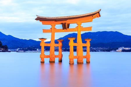 Miyajima, The famous Floating Torii gate at night, Japan.
