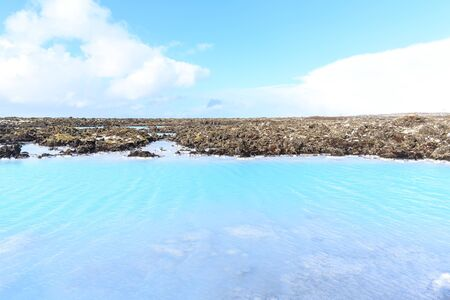 Blue Lagoon waters in the lava, Iceland.