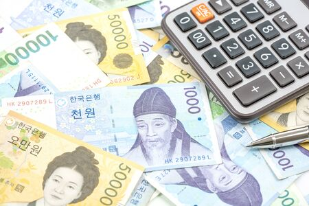 won: South Korea won money bills in Different value, South Korean won currency and finance.