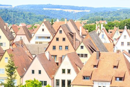 the old town hall: Houses of Rothenburg ob der Tauber, Germany