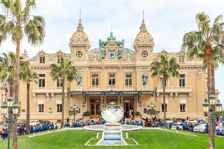 MONTE CARLO, MONACO - March 12: People gathering in front of the world famous Casino of Monte Carlo. Monte Carlo, Monaco on March 12, 2016 Editorial