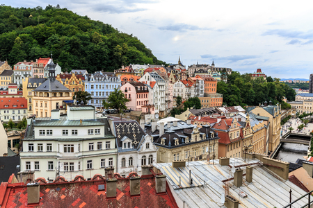 Top view, Karlovy Vary is the famous spa city in western Bohemia, very popular tourist, Czech Republic