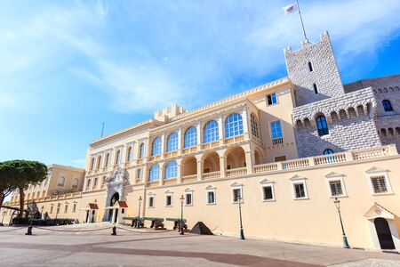 view of the facade of the Princes Palace of Monaco in Monaco-Ville, Monaco Editorial