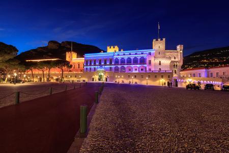 Beautiful night building of Princes Palace in Monaco-ville, Monaco.