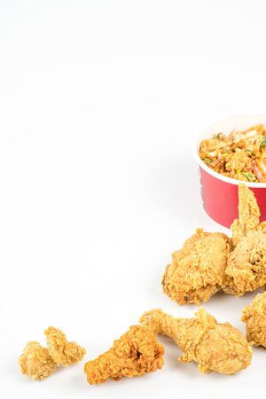 Hot fried chicken isolated on the white background.