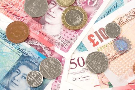 British Pound money bills of United Kingdom in Different value,Pound currency and finance.