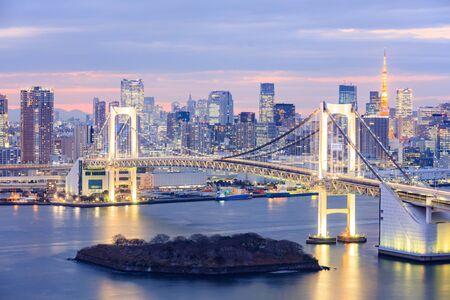 Tokyo skyline with Tokyo tower and rainbow bridge in Tokyo, Japan.