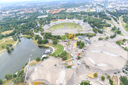 MUNICH, GERMANY - August 01: Stadium of the Olympia park on Aug 01, 2015 in Munich, Germany.It is an Olympic Park which was constructed for the 1972 Summer Olympics. 報道画像