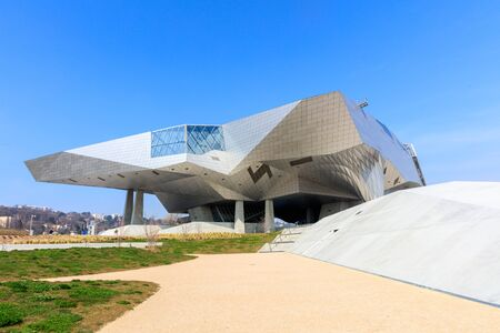 LYON, FRANCE, MARCH 15, 2016 : Musee des Confluences just inaugurated. Musee des Confluences is located at the confluence of the Rhone and the Saone rivers and a project of the Confluence district