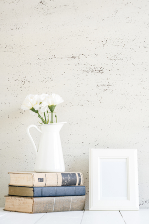white mock up, Stylish workplace interior at home. 写真素材
