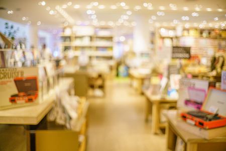 Abstract blur of  beautiful luxury library book store and book shop for background