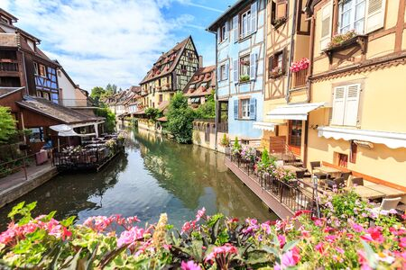canal in Colmar, Alsace, France. Stock Photo