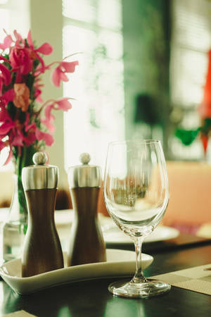 The most beautiful table in a French restaurant. vintage filter effect Stock Photo