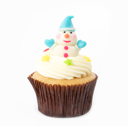Christmas of cupcake on the white background Stock Photo