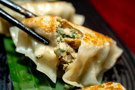 Close up fresh boiled dumplings.Image of  Chinese food Stock Photo