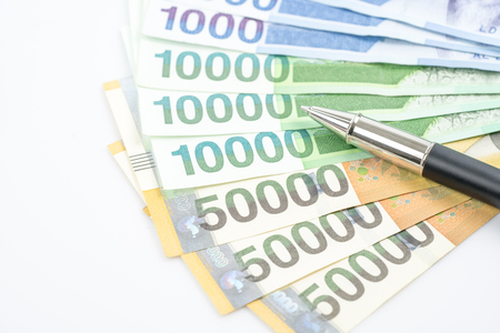 South Korea won money bills in Different value, South Korean won currency and finance.