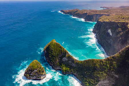 Top view of Karang Dawa bay, Kelingking beach. Nusa Penida Island, Indonesia.
