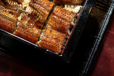 Rice topped with grilled roasted eel, Kabayaki. Image of Japanese food. Imagens - 108522737