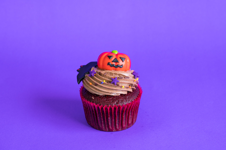 Halloween cupcakes on purple background.