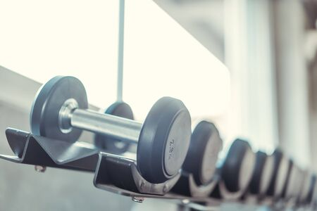 Rows of Metal Dumbbells on Rack in the Gym. Weight Training Equipment in Modern Sports Club. Stock Photo