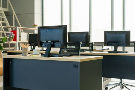 Contemporary Room Workplace Office Supplies Concept .Interior Of Modern Design Office With No People