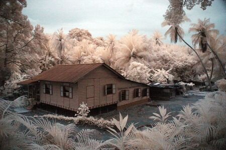 infrared: Hut (Malay Village Style) in Infrared Stock Photo
