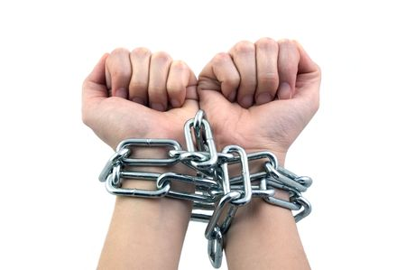 offence: Chained Up Hands Stock Photo