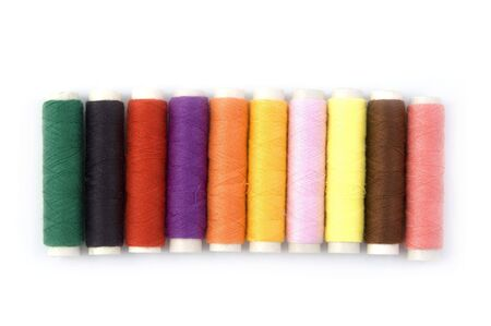 Row of Colorful threads photo