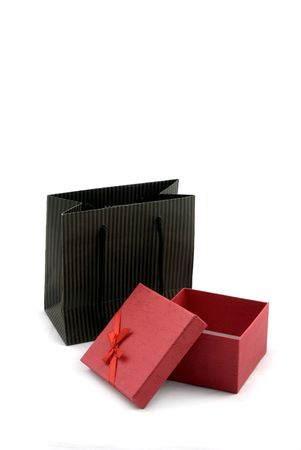 opened bag: Shopping bag and gift box opened