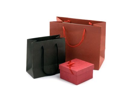 shopping bag and red gift box photo
