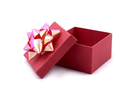 red gift box: Red Gift Box with Big Ribbon Opened Stock Photo