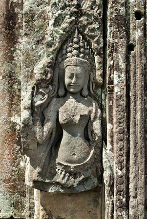 apsara: Carving of Apsara in Angkor Thom
