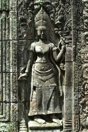 apsara: Carving of Apsara found in Angkor Thom