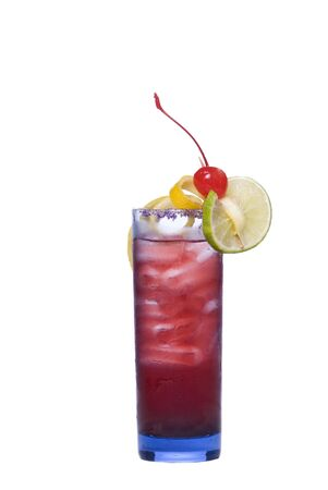 tall glass: Colorful alcoholic cocktail in a tall glass against white background