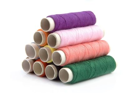 Color Tower rolls of Threads for sewing photo