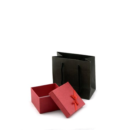 opened bag: Dark Brown Shopping bag and red gift box opened Stock Photo