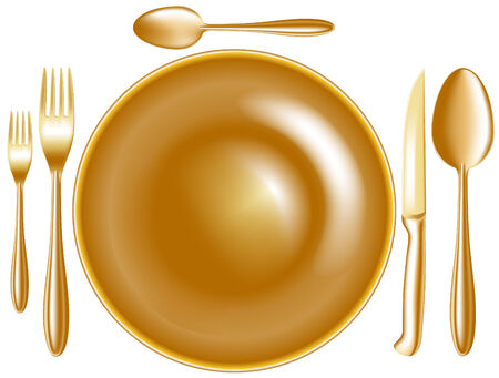 spoon knife fork plate Illustration