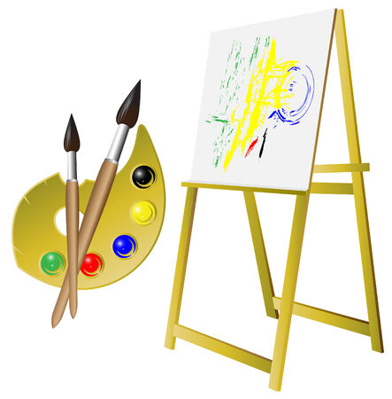 palette_brush_easel Vector